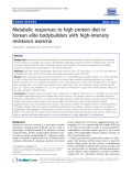 "Báo cáo y học: "" Metabolic responses to high protein diet in Korean elite bodybuilders with high-intensity resistance exercise"""