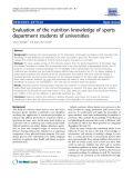 """Báo cáo y học: """"  Evaluation of the nutrition knowledge of sports department students of universities"""""""