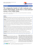 """báo cáo khoa học:"""" The comparative burden of mild, moderate and severe Fibromyalgia: results from a cross-sectional survey in the United States"""""""