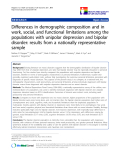 """báo cáo khoa học:"""" Differences in demographic composition and in work, social, and functional limitations among the populations with unipolar depression and bipolar disorder: results from a nationally representative sample"""""""