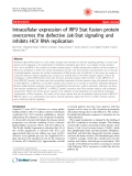 """Báo cáo y học: """"Intracellular expression of IRF9 Stat fusion protein overcomes the defective Jak-Stat signaling and inhibits HCV RNA replication"""";"""
