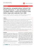 """Báo cáo y học: """" Retrospective seroepidemiology indicated that human enterovirus 71 and coxsackievirus A16 circulated wildly in central and southern China before large-scale outbreaks from 2008"""""""