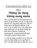 Ethambuton điều trị lao: Những tác dụng không mong muốn