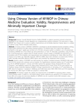 """báo cáo khoa học:""""  Using Chinese Version of MYMOP in Chinese Medicine Evaluation: Validity, Responsiveness and Minimally Important Change"""""""