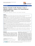 """báo cáo khoa học:""""  Barriers towards insulin therapy in type 2 diabetic patients: results of an observational longitudinal study"""""""