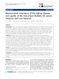 """báo cáo khoa học:"""" Measurement invariance of the kidney disease and quality of life instrument (KDQOL-SF) across Veterans and non-Veterans"""""""