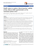 """báo cáo khoa học:"""" Health status in routine clinical practice: validity of the clinical COPD questionnaire at the individual patient level"""""""