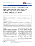 "báo cáo khoa học:"" Content comparison of haemophilia specific patient-rated outcome measures with the international classification of functioning, disability and health (ICF, ICF-CY)"""