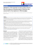 "báo cáo khoa học:""  Validation of the Spanish version of the Chronic Pain Acceptance Questionnaire (CPAQ) for the assessment of acceptance in fibromyalgia"""
