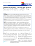 """báo cáo khoa học:"""" Functioning and health in patients with cancer on home-parenteral nutrition: a qualitative study"""""""