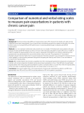 """báo cáo khoa học:"""" Comparison of numerical and verbal rating scales to measure pain exacerbations in patients with chronic cancer pain"""""""