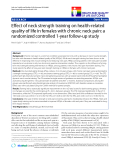 """báo cáo khoa học:"""" Effect of neck strength training on health-related quality of life in females with chronic neck pain: a randomized controlled 1-year follow-up study"""""""