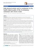 """báo cáo khoa học:""""  Daily physical activity and its contribution to the health-related quality of life of ambulatory individuals with chronic stroke"""""""