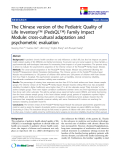 """báo cáo khoa học:"""" The Chinese version of the Pediatric Quality of Life Inventory™ (PedsQL™) Family Impact Module: cross-cultural adaptation and psychometric evaluation"""""""