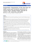 """báo cáo khoa học:""""  Psychometric characteristics of the short form 36 health survey and functional assessment of chronic illness Therapy-Fatigue subscale for patients with ankylosing spondylitis"""""""