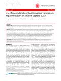 """Báo cáo y học: """"Use of monoclonal antibodies against Hendra and Nipah viruses in an antigen capture ELISA"""""""