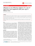 """Báo cáo y học: """"Influenza or not influenza: Analysis of a case of high fever that happened 2000 years ago in Biblical tim"""""""