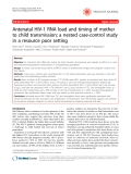 """Báo cáo y học: """"Antenatal HIV-1 RNA load and timing of mother to child transmission; a nested case-control study in a resource poor setting"""""""