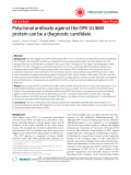 """Báo cáo y học: """"  Polyclonal antibody against the DPV UL46M protein can be a diagnostic candidate"""""""