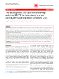 """Báo cáo y học: """" The development of a rapid SYBR one step real-time RT-PCR for detection of porcine reproductive and respiratory syndrome virus"""""""