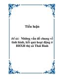 Tiểu luận: Những vấn đề chung về tình hình, kết quả hoạt động ở BHXH thị xã Thái Bình