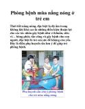 Phòng bệnh mùa nắng nóng ở trẻ em
