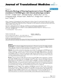 """báo cáo hóa học:"""" Molecular Etiology of Hearing Impairment in Inner Mongolia: mutations in SLC26A4 gene and relevant phenotype analysis"""""""