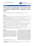 """Báo cáo hóa học: """"The density of macrophages in the invasive front is inversely correlated to liver metastasis in colon cancer"""""""