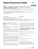 """báo cáo sinh học:""""  Call for manuscripts: """"Towards a scaling-up of training and education for health workers"""""""