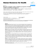 "báo cáo sinh học:"" Retention of health workers in Malawi: perspectives of health workers and district management"""