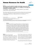"báo cáo sinh học:"" Equity-oriented toolkit for health technology assessment and knowledge translation: application to scaling up of training and education for health workers"""