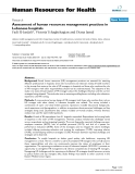 """báo cáo sinh học:""""  Assessment of human resources management practices in Lebanese hospitals"""""""