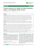 "báo cáo sinh học:""  Human resources for health and decentralization policy in the Brazilian health system"""