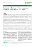 """báo cáo sinh học:""""  Continuity and change in human resources policies for health: lessons from Brazil"""""""