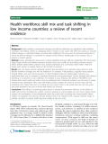 """báo cáo sinh học:""""  Health workforce skill mix and task shifting in low income countries: a review of recent evidence"""""""