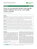 """báo cáo sinh học:""""  Access to non-pecuniary benefits: does gender matter? Evidence from six low- and middleincome countries"""""""