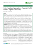"báo cáo sinh học:""  Oxford graduates' perceptions of a global health master's degree: a case study"""