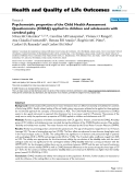 "báo cáo hóa học: ""  Psychometric properties of the Child Health Assessment Questionnaire (CHAQ) applied to children and adolescents with cerebral palsy"""