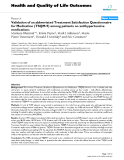 "báo cáo hóa học: "" Validation of an abbreviated Treatment Satisfaction Questionnaire for Medication (TSQM-9) among patients on antihypertensive medications"""