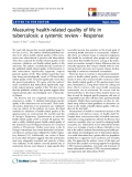 """báo cáo hóa học: """"   Measuring health-related quality of life in tuberculosis: a systemic review - Response"""""""