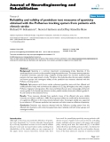 "báo cáo hóa học: ""Reliability and validity of pendulum test measures of spasticity obtained with the Polhemus tracking system from patients with chronic stroke"""