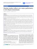 """Báo cáo hóa học: """"  Viewing medium affects arm motor performance in 3D virtual environments"""""""