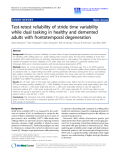 "Báo cáo hóa học: ""  Test-retest reliability of stride time variability while dual tasking in healthy and demented adults wit"""