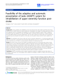 """Báo cáo hóa học: """"  Feasibility of the adaptive and automatic presentation of tasks (ADAPT) system for rehabilitation of upper extremity function poststroke"""""""