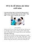 10 lý do để khám sức khỏe cuối năm
