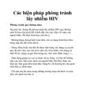 Các biện pháp phòng tránh lây nhiễm HIV