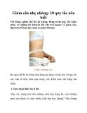 Giảm cân nhẹ nhàng: 10 quy tắc nên biết