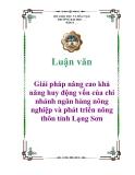 Luận văn: Giải pháp nâng cao khả năng huy động vốn của chi nhánh ngân hàng nông nghiệp và phát triển nông thôn tỉnh Lạng Sơn