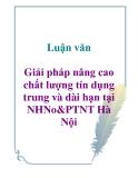 Luận văn: Giải pháp nâng cao chất lượng tín dụng trung và dài hạn tại NHNo&PTNT Hà Nội