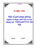 Luận văn: Một số giải pháp phòng ngừa và hạn chế rủi ro tín dụng tại  NHNo&PTNT Hà Nội